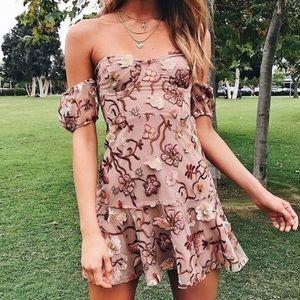 NWT For Love and Lemons M Botanic Strapless Dress